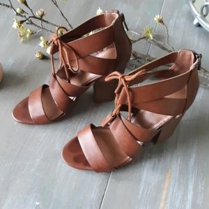 Brown open toe heels